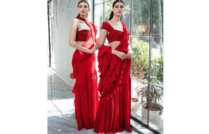 ruffled sarees