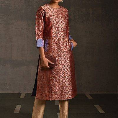 Jaypore-Brocade-Quilted-Kurta-with-Pockets-400x400