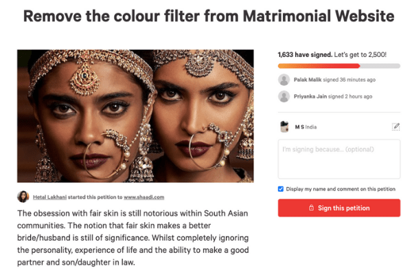 shaadi.com colourism in india petition