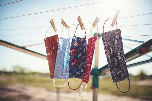 Fabric masks on clothesline
