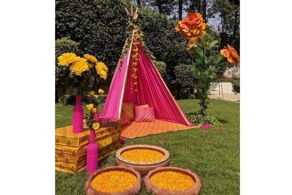 DIY haldi and mehendi decor