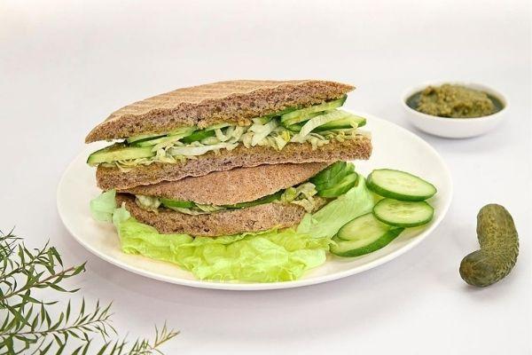 A vegan cucumber and lettuce sandwich