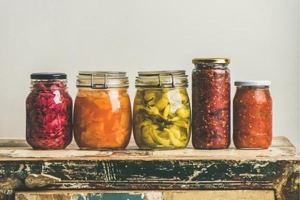 Colourful jars of fermented foods