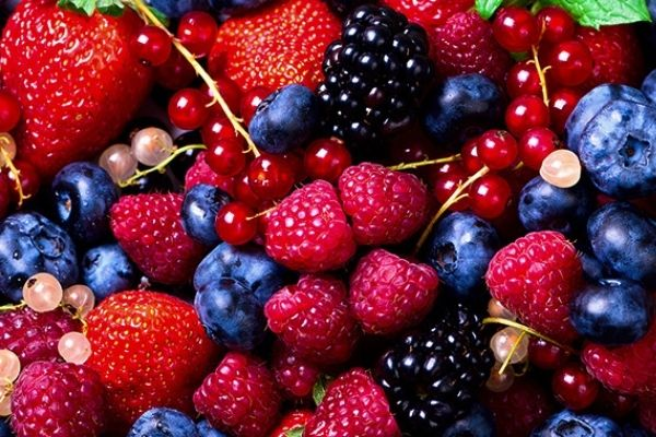 An assortment of colourful berries. Berries are amazing superfoods.
