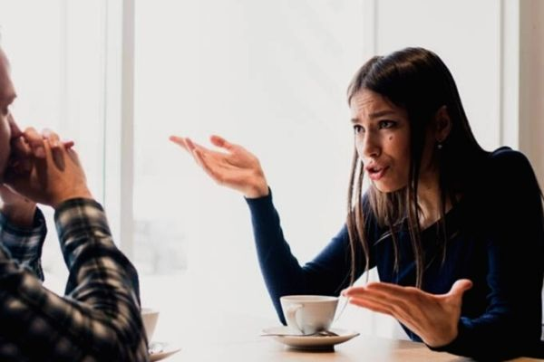 Woman having a discussion with her partner