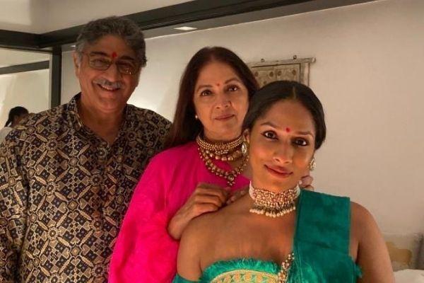 Neena Gupta with her husband and daughter