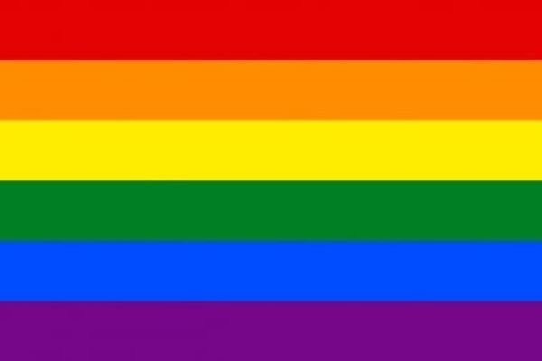 The traditional rainbow pride flag