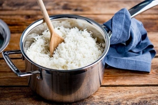 White rice kept in a pressure cooker